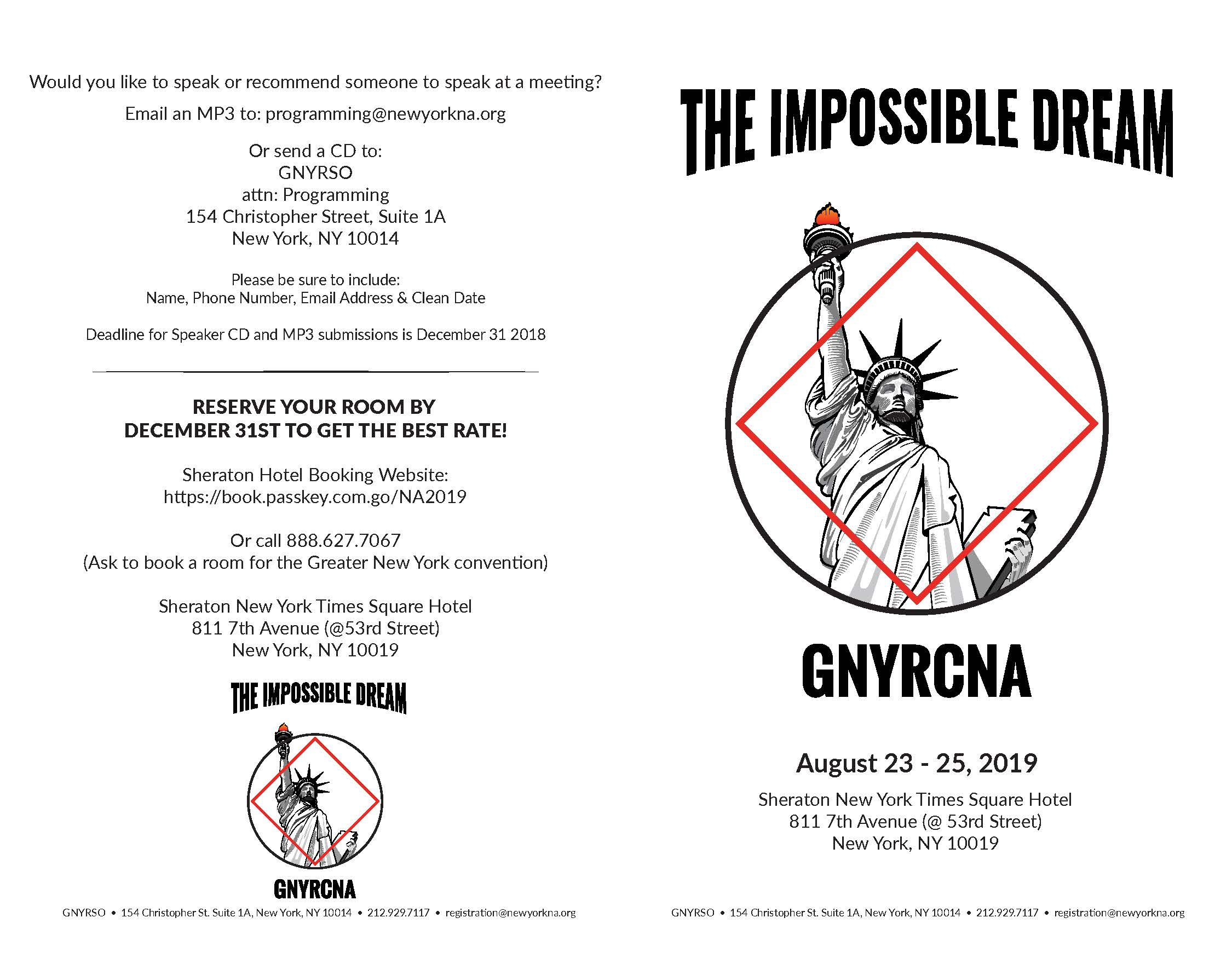 Registration for The Impossible Dream GNYR Convention